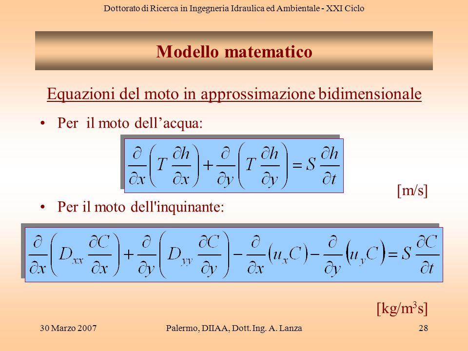 Modello matematico Equazioni del moto in approssimazione bidimensionale. Per il moto dell'acqua: [m/s]
